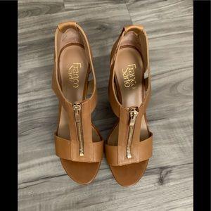 Franco Sarto platform heels sandals tan